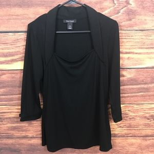 Medium WHBM Square Neck Shawl Collar Knit Top